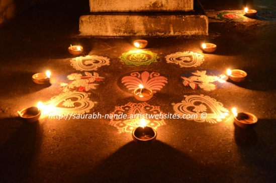 Diwali candles and rangoli